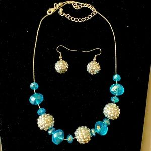 Crystal blue & glitter ball earring & necklace set